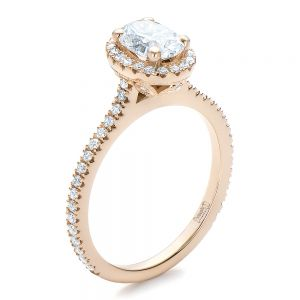 Custom Rose Gold and Diamond Halo Engagement Ring - Image