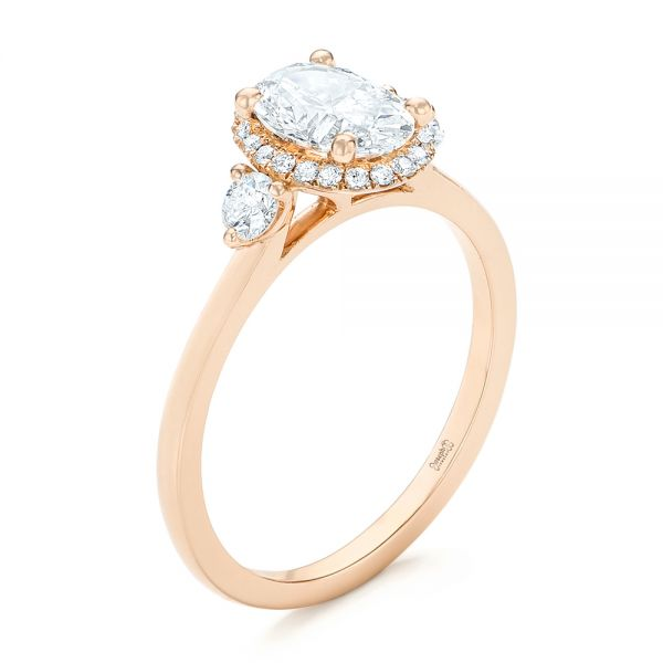 14k Rose Gold Custom Diamond Halo Engagement Ring - Three-Quarter View -  103025