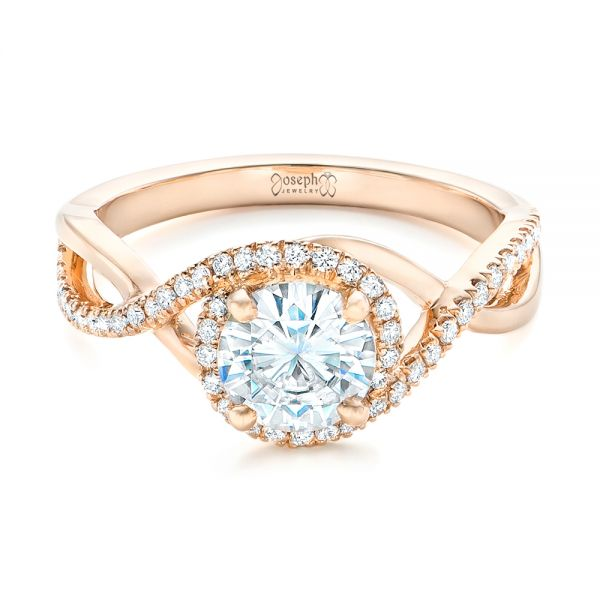 Custom Rose Gold and Diamond Halo Engagement Ring - Flat View -  102525 - Thumbnail