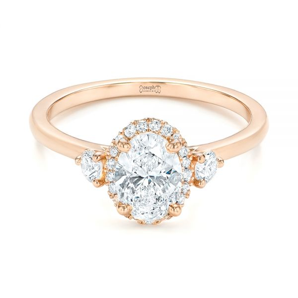 14k Rose Gold Custom Diamond Halo Engagement Ring - Flat View -  103025