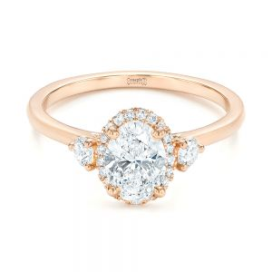 Custom Rose Gold and Diamond Halo Engagement Ring