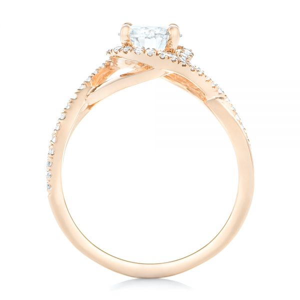 Custom Rose Gold and Diamond Halo Engagement Ring - Front View -  102525 - Thumbnail