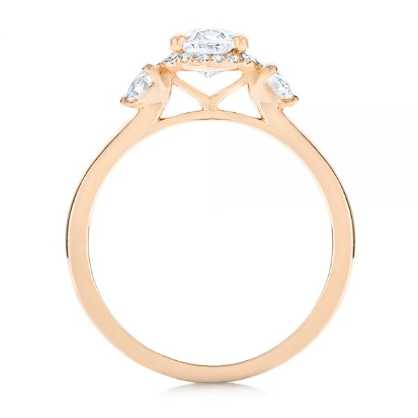 14k Rose Gold Custom Diamond Halo Engagement Ring - Front View -  103025