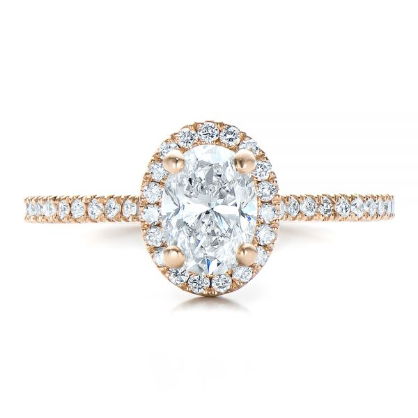 14k Rose Gold Custom Diamond Halo Engagement Ring - Top View -