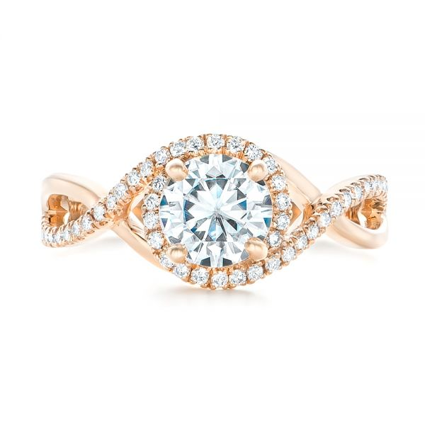 Custom Rose Gold and Diamond Halo Engagement Ring - Top View -  102525 - Thumbnail