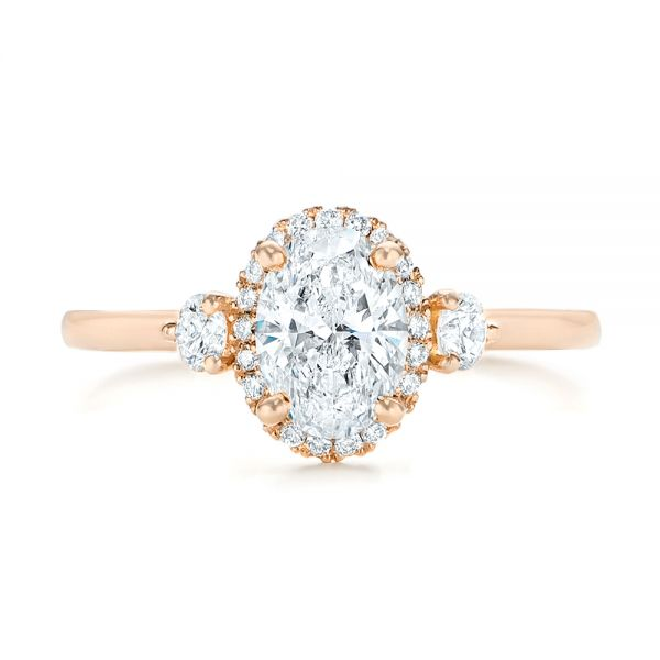 14k Rose Gold Custom Diamond Halo Engagement Ring - Top View -  103025