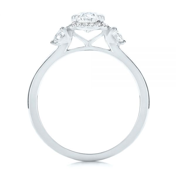 18k White Gold 18k White Gold Custom Diamond Halo Engagement Ring - Front View -