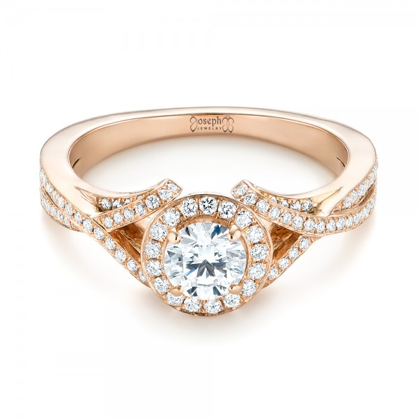 Custom Rose Gold and Diamond Halo Engagement Ring - Laying View