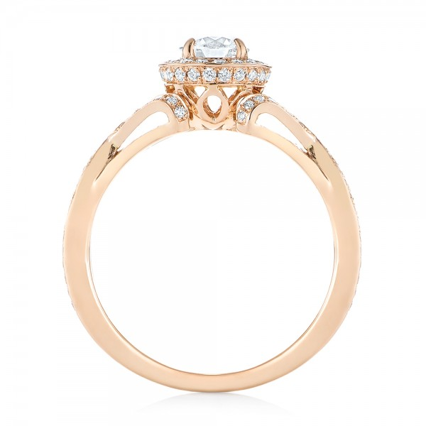 Custom Rose Gold and Diamond Halo Engagement Ring - Finger Through View