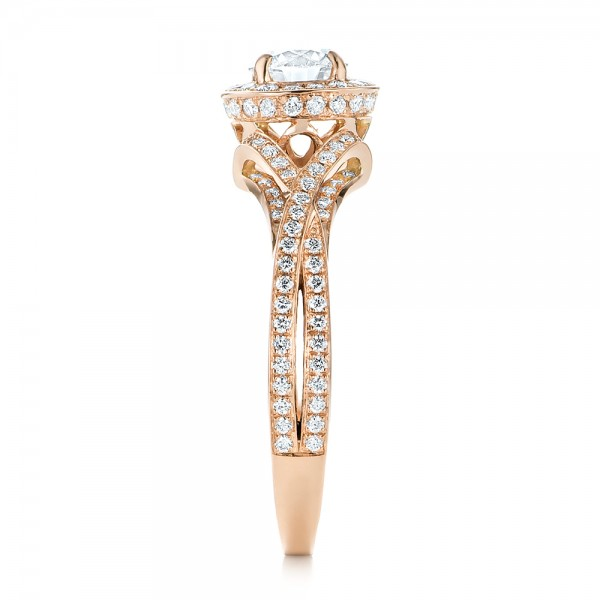 Custom Rose Gold and Diamond Halo Engagement Ring - Side View