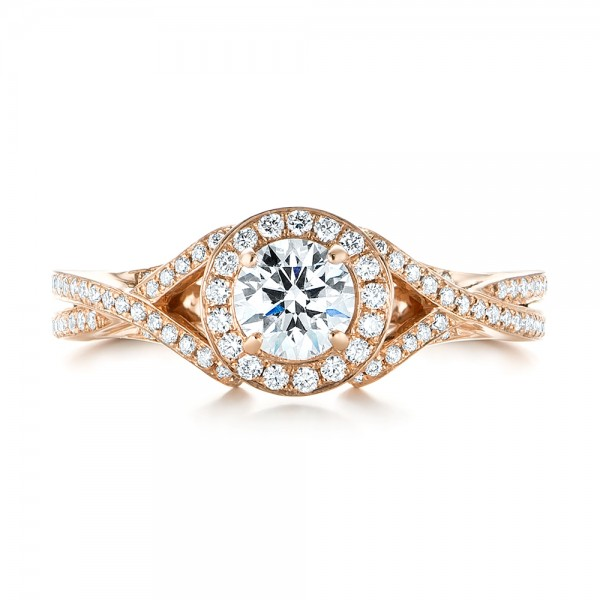 Custom Rose Gold and Diamond Halo Engagement Ring - Top View