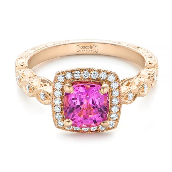 14k Rose Gold Custom Pink Sapphire Engagement Ring - Flat View -