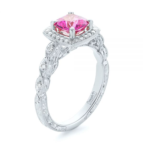 18k White Gold 18k White Gold Custom Pink Sapphire Engagement Ring - Three-Quarter View -  102285