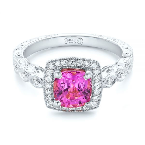 18k White Gold 18k White Gold Custom Pink Sapphire Engagement Ring - Flat View -  102285