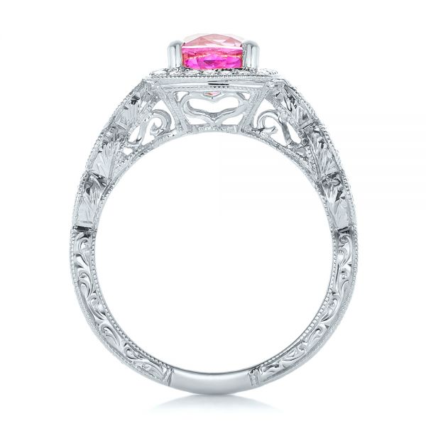 18k White Gold 18k White Gold Custom Pink Sapphire Engagement Ring - Front View -  102285