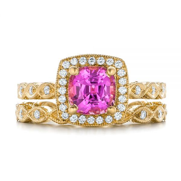 18k Yellow Gold 18k Yellow Gold Custom Pink Sapphire Engagement Ring - Three-Quarter View -  102285