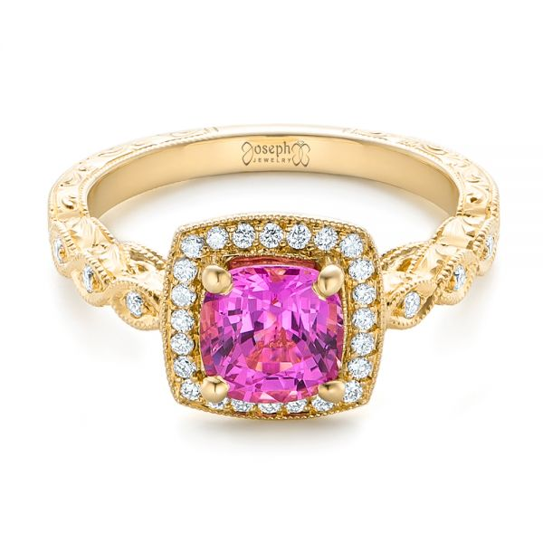 18k Yellow Gold 18k Yellow Gold Custom Pink Sapphire Engagement Ring - Flat View -  102285