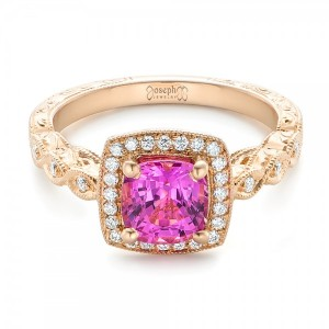 Custom Rose Gold and Pink Sapphire Engagement Ring