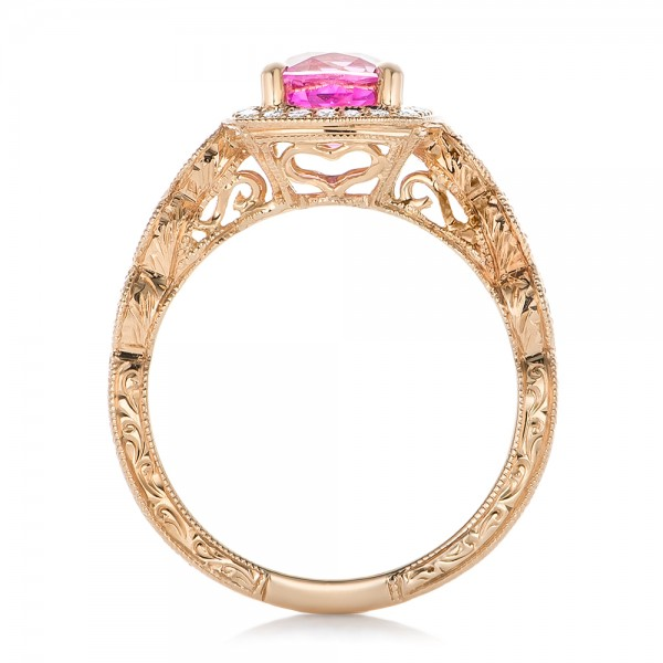 Custom Rose Gold and Pink Sapphire Engagement Ring - Finger Through View