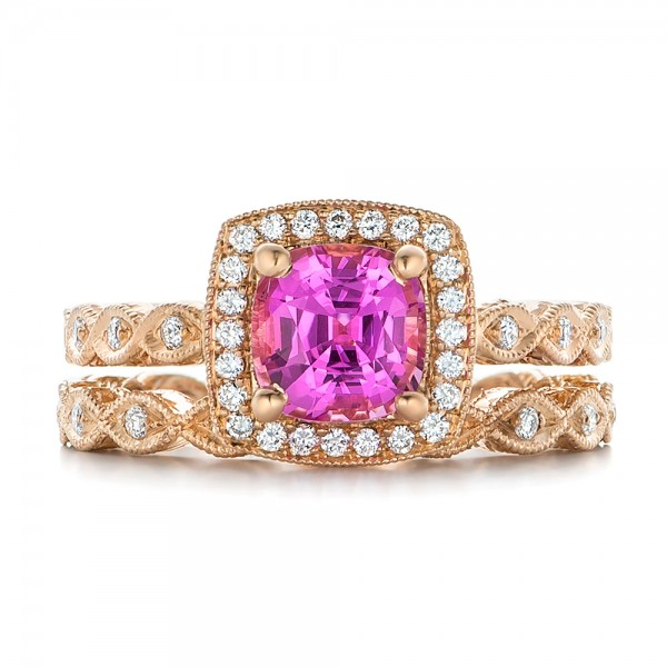 Custom Rose Gold and Pink Sapphire Engagement Ring - Image