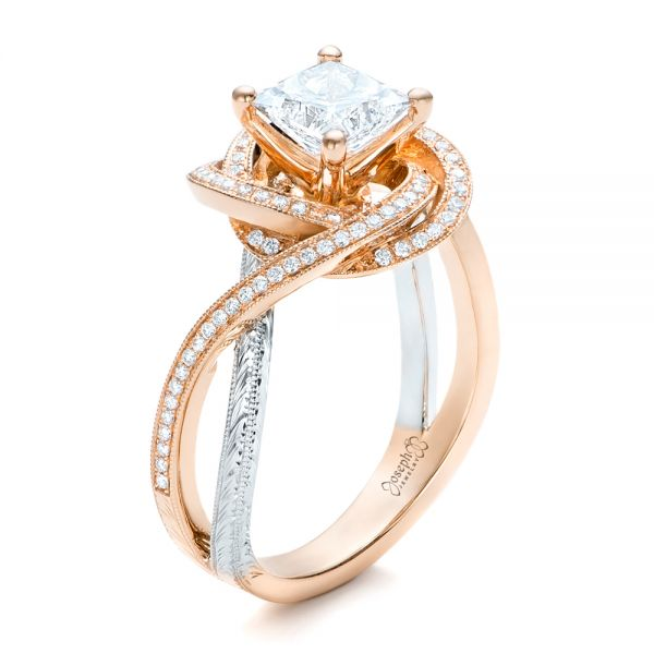 Custom Rose Gold and Platinum Diamond Engagement Ring - Image