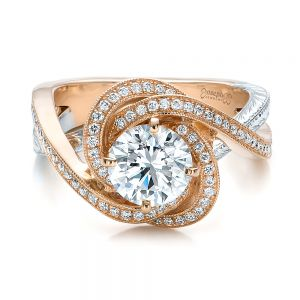 Custom Rose Gold and Platinum Diamond Engagement Ring