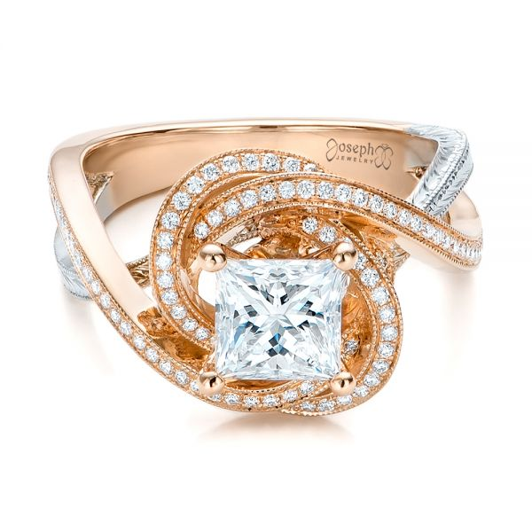 14k Rose Gold And Platinum Custom Diamond Engagement Ring - Flat View -