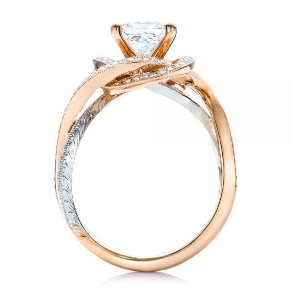14k Rose Gold And Platinum Custom Diamond Engagement Ring - Front View -