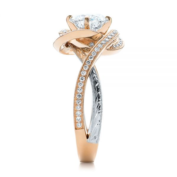 14k Rose Gold And Platinum Custom Diamond Engagement Ring - Side View -