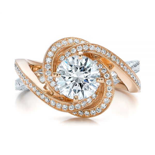 14k Rose Gold And Platinum Custom Diamond Engagement Ring - Top View -