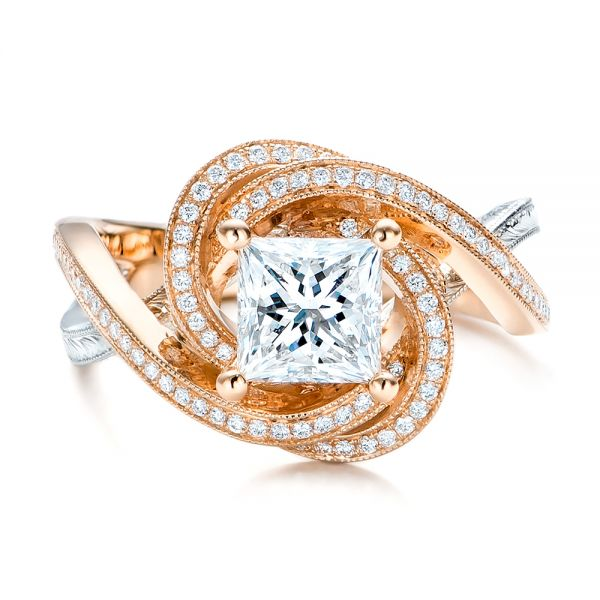14k Rose Gold And Platinum Custom Diamond Engagement Ring - Top View -  101749