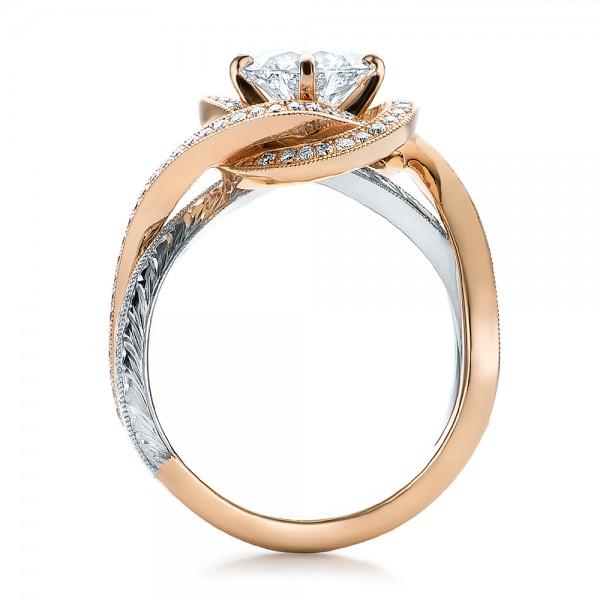 Custom Rose Gold and Platinum Diamond Engagement Ring - Finger Through View