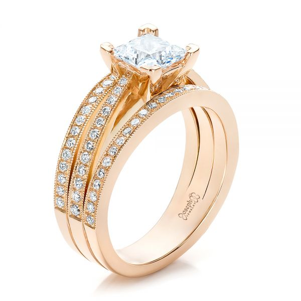 Custom Rose Gold and Princess Cut Diamond Engagement Ring - Image