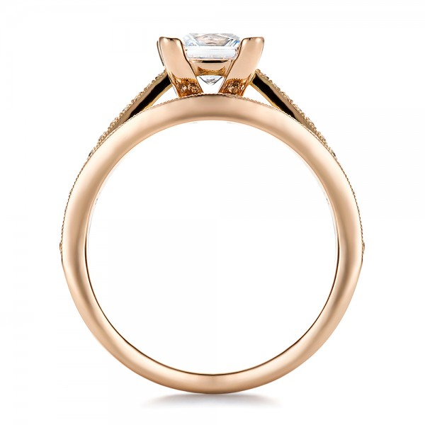 Custom Rose Gold and Princess Cut Diamond Engagement Ring - Finger Through View