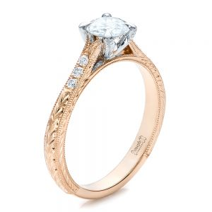 Custom Rose Gold and White Gold Diamond Engagement Ring - Image