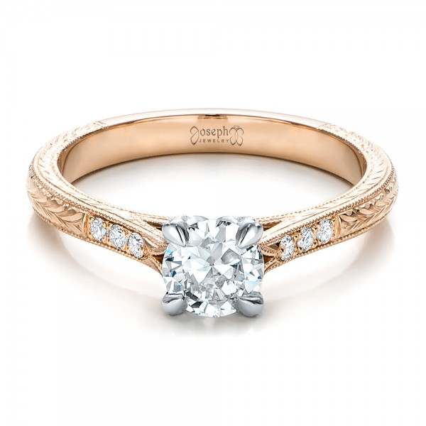 Custom rose gold and white gold diamond engagement ring for Gold and white gold wedding rings