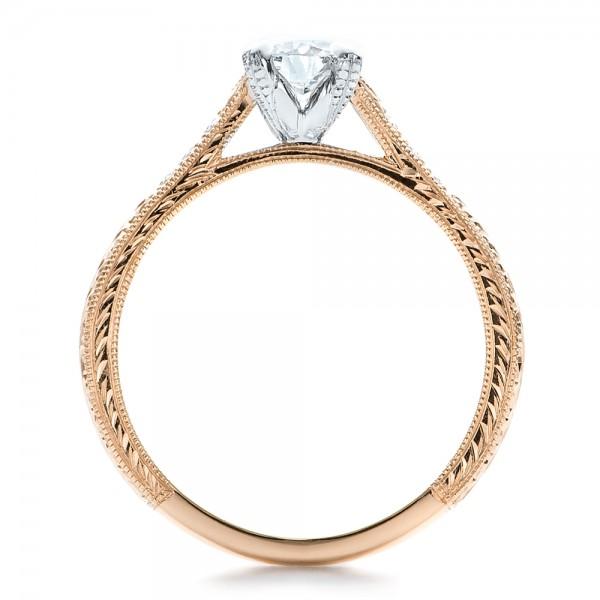 custom rose gold and white gold diamond engagement ring