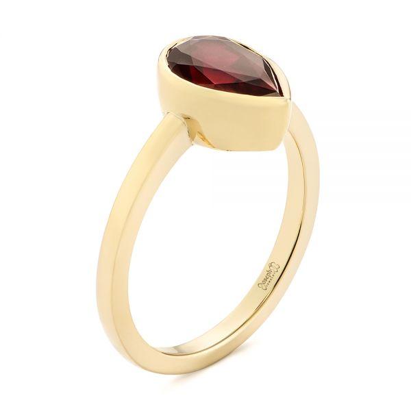 14k Yellow Gold Custom Ruby Solitaire Engagement Ring - Three-Quarter View -