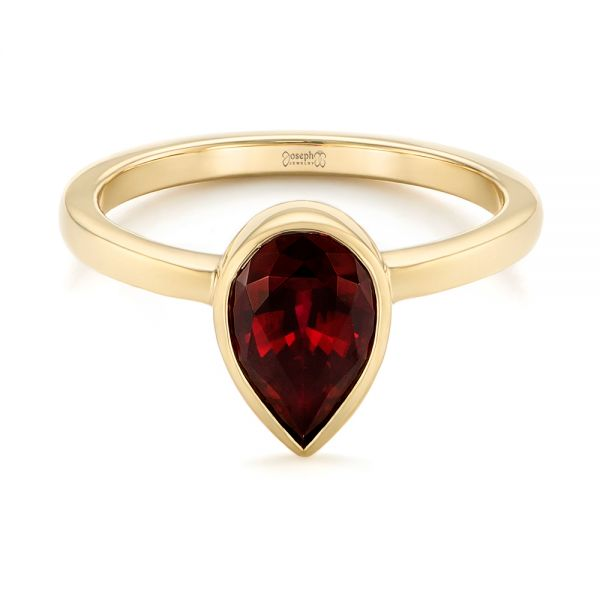 14k Yellow Gold Custom Ruby Solitaire Engagement Ring - Flat View -