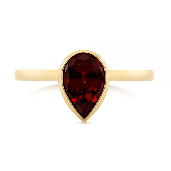 14k Yellow Gold Custom Ruby Solitaire Engagement Ring - Top View -