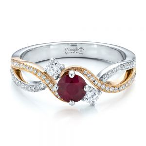 Custom Ruby and Diamond Engagement Ring