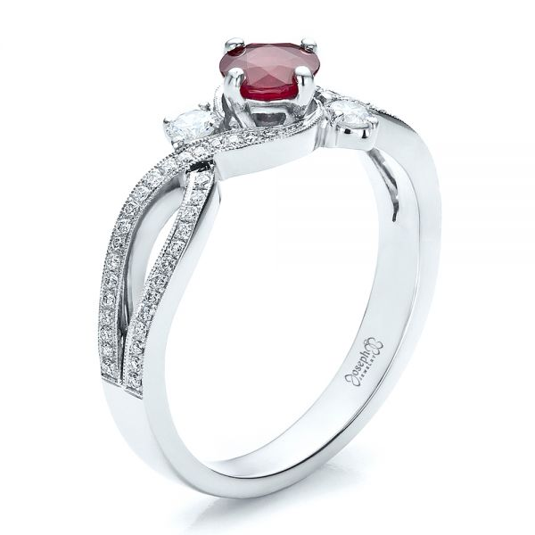 Custom Ruby and Diamond Engagement Ring - Image
