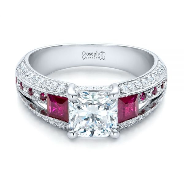 Custom Ruby and Diamond Engagement Ring - Flat View -  101458 - Thumbnail