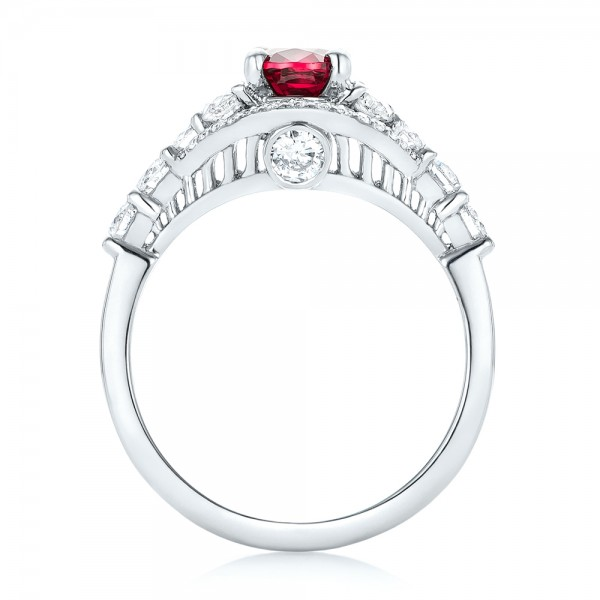 Custom Ruby and Diamond Engagement Ring - Finger Through View