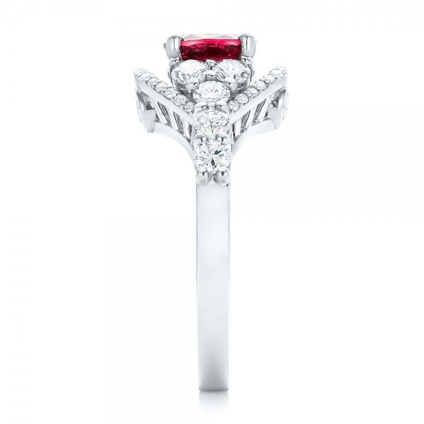 Custom Ruby And Diamond Engagement Ring #102900