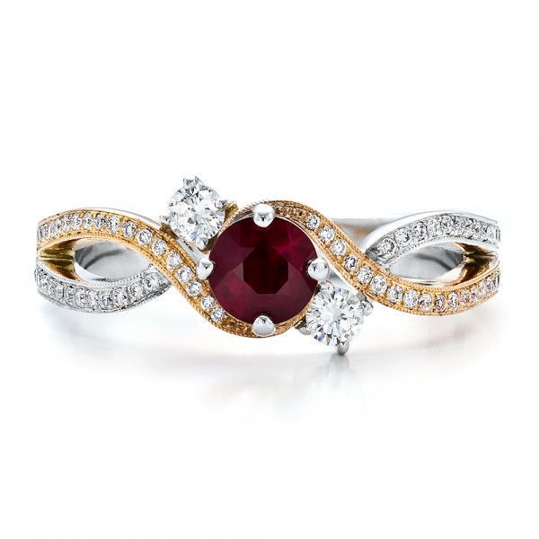 Custom Ruby And Diamond Engagement Ring 100092