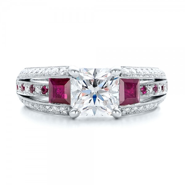 Custom Ruby and Diamond Engagement Ring - Top View