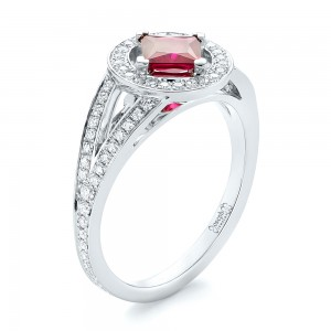 Custom Ruby and Diamond Halo Engagement Ring