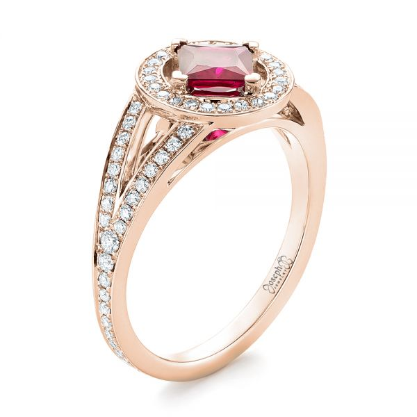 18k Rose Gold 18k Rose Gold Custom Ruby And Diamond Halo Engagement Ring - Three-Quarter View -