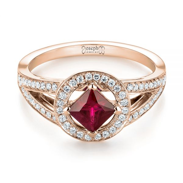 18k Rose Gold 18k Rose Gold Custom Ruby And Diamond Halo Engagement Ring - Flat View -